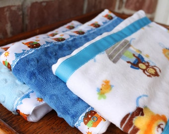 Set of 3 Matching Burp Cloths Noah's Ark Print Minky and Coordinating Blue and Light Blue Dimple Dot Minky with Noah's Ark Ribbon Edging