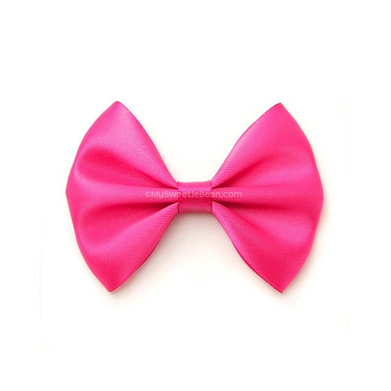 Unique Shocking Pink Satin Hair Bow 3 Inch Bow Classic Hair Bow No PI24