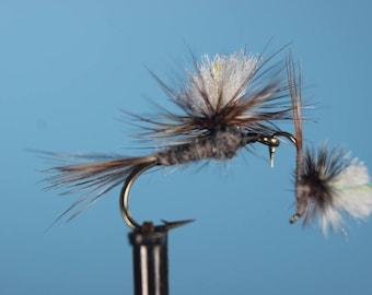 3-pak Parachute Adams flies, Adams dry fly, Trout flies, Mayflies, dry flies, hand tied flies, parachute dry flies
