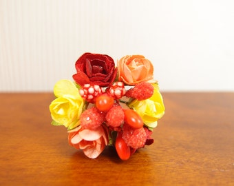 1:12 Roses Floral Arrangement, Big Red Orange & Yellow Flowers Bouquet, OOAK one inch scale dollhouse or 1 6 playscale artisan miniature
