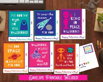 Kids Valentine cards Aliens outer space Valentines for Boys Valentines for School Valentines Printable Valentine day Cards for class friends