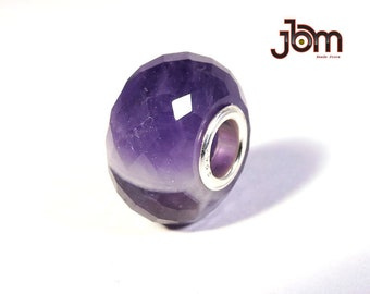 Natural Amethyst Gemstone 14x8MM Faceted Big Hole European Beads Fit Trollbeads , Pandora, Ohm And All Kind European Beads