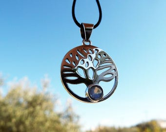Tree of Life Pendant Sterling Silver 925 Moonstone Handmade Necklace Jewelry