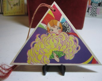 Art deco  1920's  gorgeous die cut triangle shaped  bridge tally vamp glamour girl holding large ostrich plume fan elaborate hair comb