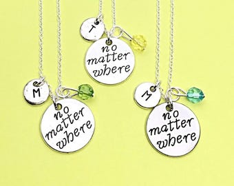 2 Set Personalized Distance No Matter Where Distance Jewelry Friendship Distance Gifts BFF Best Friend Distance Necklaces Long Distance
