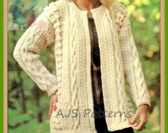 PDF Knitting Pattern For Stylish Ladies Edge To Edge Aran Jacket -  Instant Download