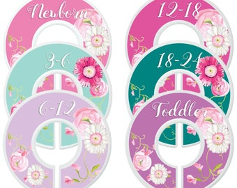 Baby Closet Dividers Closet Organizers Girl Floral Closet Dividers Lavender Teal Nursery Custom Closet Dividers Kids Clothes Dividers