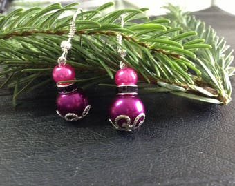 dangling earrings, Fuchsia and purple