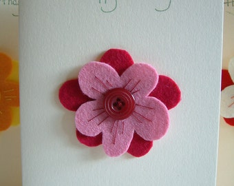 Birthday Card - Flower - Wool Felt - Button - Decoration