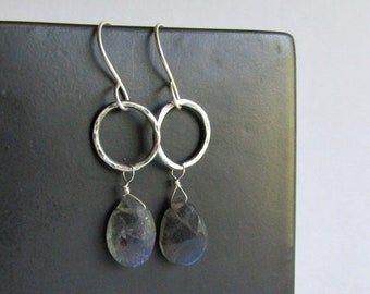Labradorite Earrings with Hammered Sterling Silver Hoops - Labradorite Jewelry - 25th Anniversary Gift - Birthday Gift