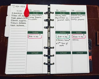 Filofax Personal Printable Weekly Insert Monday Start Week on Four Pages