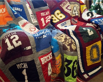 Sports jersey quilt. Custom made t-shirt quilt from 9 to 49 t shirts. Dorm tshirt quilt. Memory tee shirt quilt.