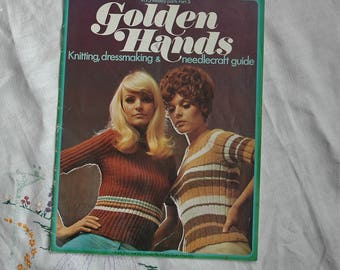Vintage craft magazine, Golden Hands, 1970s, Part 5 of 75, knitting, dressmaking and needlecraft guide