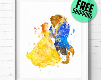 Beauty and the Beast print, Disney Princess Belle print, Disney poster, Beauty and the Beast poster, Disney watercolor, wall art, decor, 01