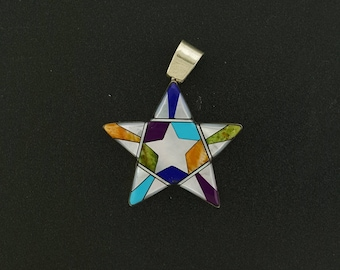 Reversible Multi-stones Star Pendant-sterling silver