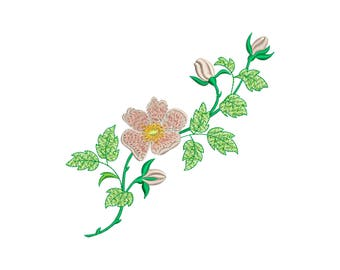Spring flower - embroidery design - Blooming rose - Dog-rose flower: Machine embroidery design