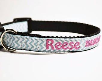 "Personalized Dog Collar - Aqua Chevron - Dog Collar - 3/4"" wide - Made to order"