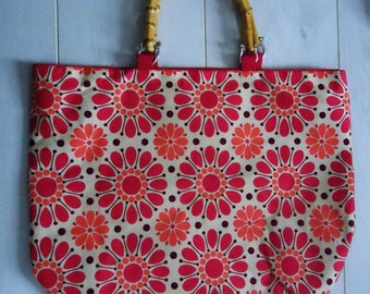 Homemade Floral Tote with Bamboo Handles
