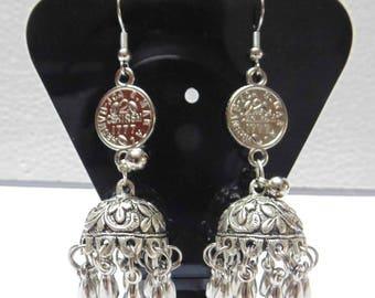Oxidized Silver Dangle Earrings , Hoop Earrings , Chandelier Earrings , Boho Earrings , Gypsy Earrings , Belly dance earrings