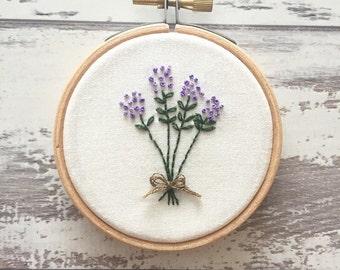Lavender Embroidery Hoop Art - Embroidery Flower Wall Art - Home Gift - Hand Embroidery Art - Embroidery Hoop Art