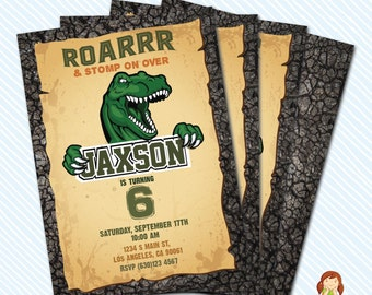 Digital Printable Dinosaur Birthday Invitation. Boy Birthday