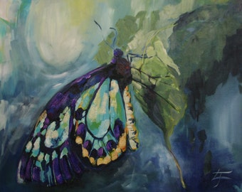 Original Painting on Canvas Blue Butterfly, Green, Gold, Purple 20x24 inches