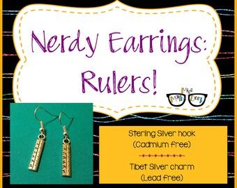 Ruler earrings | Math Earrings | Ruler | Math jewelry | Nerd gift | Geek gift | Nerd Jewelry | Geek Jewelry | Math Teacher Gift | Math Gift