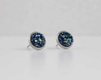 Midnight Blue Druzy Crystal Earrings   ATL-E-215