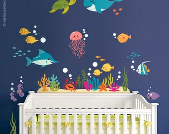 Under The Sea Wall Decal, Fishes Wall Decal, Ocean Wall Sticker, Underwater  Sea
