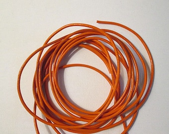 2mm Leather Cord, Genuine Leather, Round Leather Lacing, Orange Dyed Leather, Orange Round Leather Cord, 2mm Round Lacing, 2 Yards - org2mm