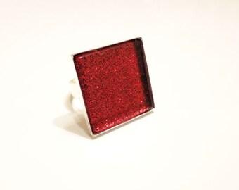 Glass Tile, Glitter Ring, Glass Tile Ring, Red Glitter Ring, Statement Ring, Glass Tile Jewelry, Square Ring, Red Ring