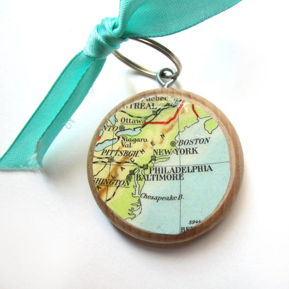 Personalized World map keychain - North America variations