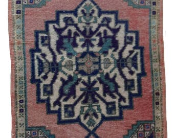 Small Turkish Runner Rug Oushak Decorative Handwoven Rug Turkish Antique Rug 1.6 x 3.2 ft  F-