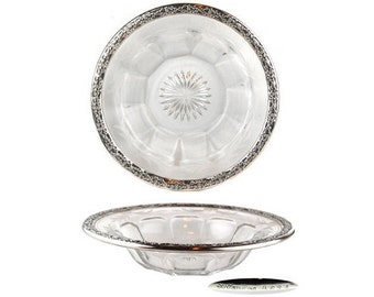 Antique Frank Whiting Sterling Silver Trimmed, Etched and Fluted Glass Bowl