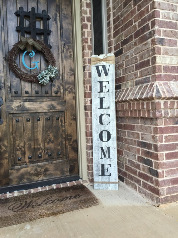 Rustic Wood Welcome Sign Vertical Wooden Welcome Sign
