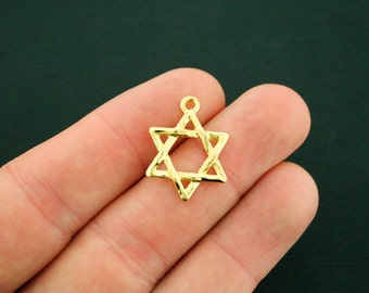 6 Star of David Charms Antique Gold Tone - GC1003