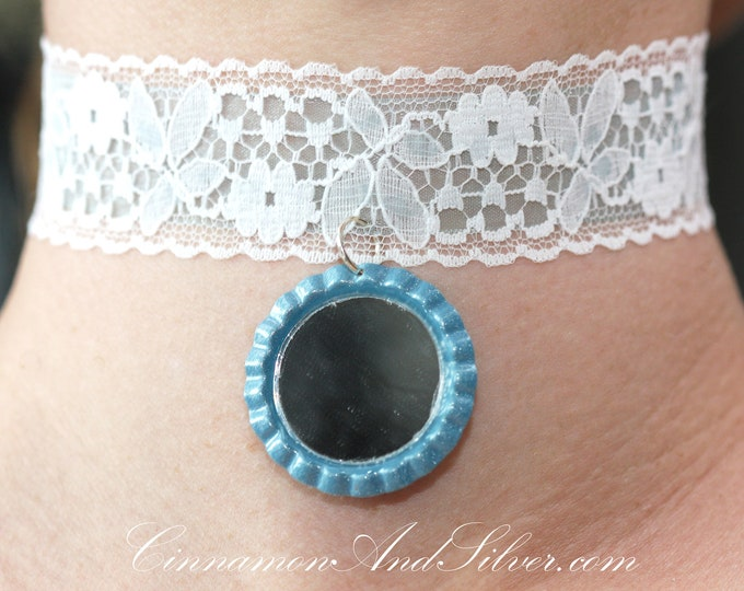 Light Blue and White Lace Romantic Ribbon Choker Necklace with Mirror Charm, White Lace Choker Necklace with Mirror Charm, Mirror Choker