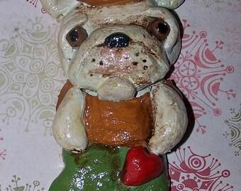 Folk Art French Bulldog Ooak Christmas Ornament Sock Decoration Art Doll OOak Vintage Nostaglic Style