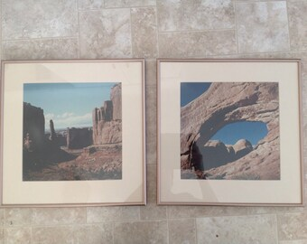 Pair of Vintage Square Framed Photographs Red Rock Utah MCM Mid Century