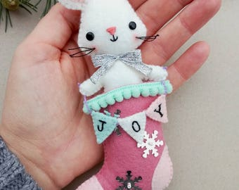 Felt PDF sewing pattern - Little mouse in a stocking - Christmas ornament, easy sewing pattern, DIY, festive holiday decor, Christmas tree