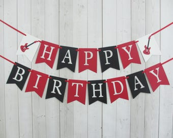 Guitar Birthday Party Baby Shower Flag Pennant Banner Sign Red Black Silver Glitter Sign Rock Star Music