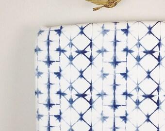 Crib Sheet & More MADE TO ORDER Indigo Blue Shibori / Organic, Minky, or Cotton: Fitted Crib Sheet/Changing Pad Cover/Minky Blanket/Crib