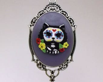 Sugar Skull Cat Cameo Necklace -Day of Dead, Día de Muertos, gifts, geek, sister, girlfriend, birthday