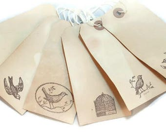 Bird Tea Stained Gift and Favor Tags