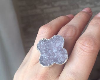 Purpolish Grey Amethyst Druzy Adjustable Ring, Clover Ring, Silver Handmade Ring, Good Luck Jewellery, Lucky Jewelry