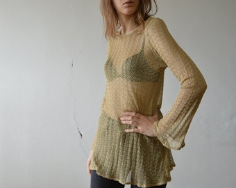 vintage golden mesh crochet lace tunic dress long flare sleeve long line top small medium size