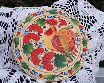 Decorative plate Wall decor plate Gift idea Gift for mother Folk art Wooden plate Hand painted plate Ukrainian plate Petrykivka plate