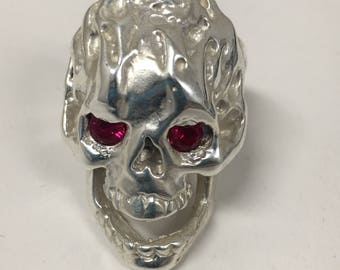 silver SKULL ring with FIRE eyes handmade hand finished