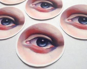 5 Vinyl Stickers Matt of Lovers Eye painting