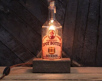 Handmade Recycled Antique Mr. Boston's Spot Bourbon Bottle Desk Lamp-Features Reclaimed Wood Base, Twisted Cloth Wire, In line Switch,& Plug